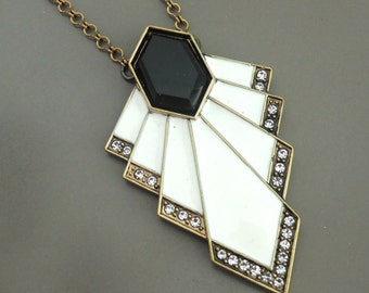 Art Deco Necklace - Vintage Inspired Necklace - Crystal Necklace - Antiqued Gold - Black and White Enamel Necklace - handmade jewelry