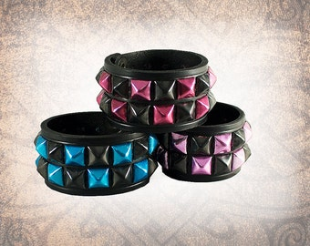Studded Leather Cuff, Leather Cuff, Leather Wristband, Bracelet, Black Leather Cuff - Coloured Pyramid 2-Row - Custom to You (1 cuff only)