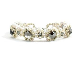 White Pearl Bracelet - Crystal Beaded Cuff Bracelet - Beadwork Wedding Bridal Jewelry - Black and White Jeweled Bracelet