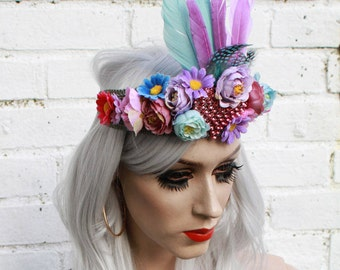 Floral Feather Pastel Goddess Crown Festival Headband