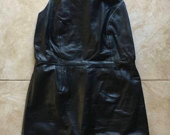 90s vintage shape fx black leather backless open back mini dress size 14