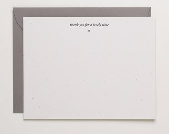 Thank You For a Lovely Time - simple thanks - Letterpress gratitude flat note - minimal thank you - appreciation cards by Of Note Stationers