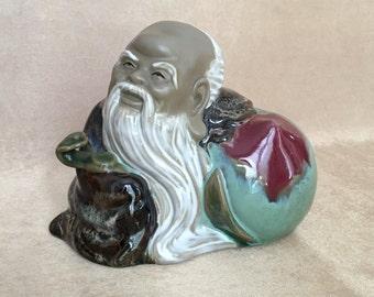 Chinese God, Shou Lau, God of Longevity, Fuk Luk Sau, Feng Shui Home, Mud Clay Statue, Tabletop Bust, White Beard God, Asian Longevity God,