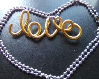 Wire love charm and removable ball chain