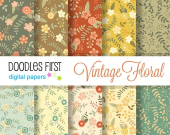 Vintage Spring Floral Digital Paper Pack Includes 10 for Scrapbooking Paper Crafts