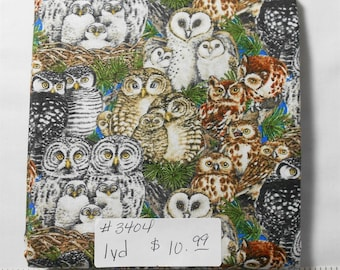 Fabric - 1yd piece-Multi Owl Family/Baby Owls/Scenic/Wildlife/Outdoors/Rustic/pine trees/brown/green/blue (#3404) Elizabeth's Studio 4326
