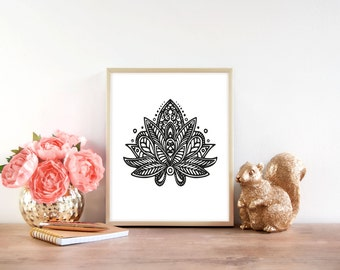 Lotus flower print floral photography download digital print downloadable print lotus flower print minimalistic art printable wall art black and mightylinksfo