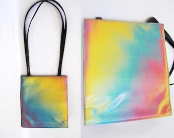 90s shiny iridescent bag -- vintage purse, holographic, pastel, tote bag, shoulder bag, colour changing, unicorn, 1990s 90s clothing
