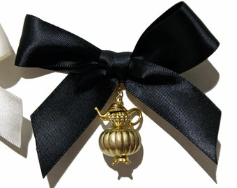 Beautiful Victorian Style Gold or Silver Teapot Hair Bow and Pin - 6 Colors Available