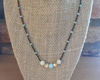 Simple Blue & Brown Beaded Necklace