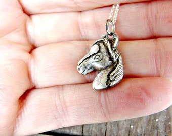 Horse Necklace - Silver Horse Pendant - Show Horse - Rodeo Jewelry - Animal Necklace - Equestrian Jewelry