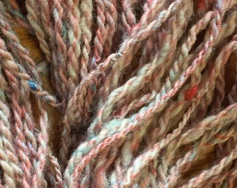 """Hand-Spun 100% Wool Yarn """"Pink and Blue Glitz"""" Hand-Washed, Carded, Spun and Painted, 2 ply, Knit, Crochet, Weave, Bulky 56 yds, Wound FREE"""