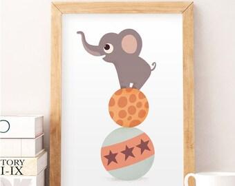 Elephant print, Cute animals, Nursery wall decor, Baby room decor, Baby room art, Kids room wall art, Wall decor, Cute art, Safari prints