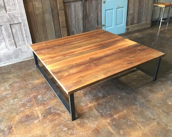 Square Reclaimed Wood Coffee Table / Industrial H-Shaped Steel Legs