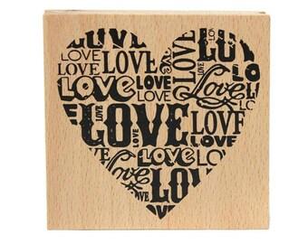 scrapbooking stamp LOVE heart wood