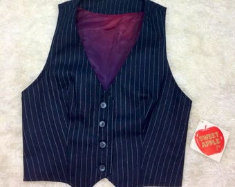 1970s Navy Blue Pin Striped Vest NWT size 9 Steampunk