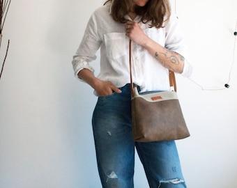 Vegan leather bag, Brown crossbody purse, Colorblock crossbody bag, Simple crossbody purse, Everyday bag, Messenger purse