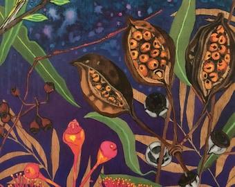 Australiana seed pods and fauna.