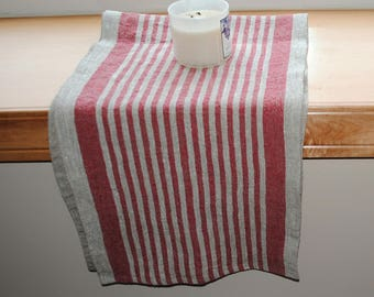 Rustic Linen Table Runner Table Linens Narrow Striped Red Beige Prewashed Heavy Linen Extra Long