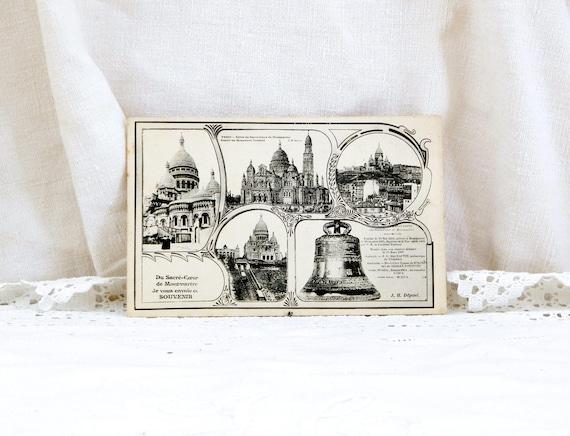 French Antique Black and White Unused Postcard The Sacré Coeur de Monmartre Paris, Vintage French Parisian Tourist Vacation Retro Home Decor