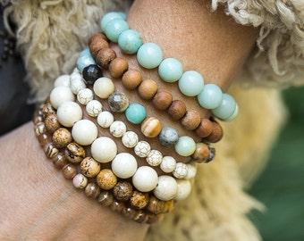 Beaded Bracelets, Stretch Bracelets, Amazonite Bracelet, Stacking Bracelets, Sandalwood Bracelet, Beach Jewelry, Boho Bracelets, Boho