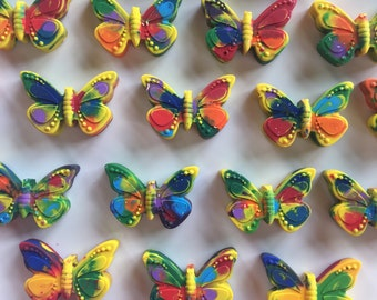 25 Butterfly Shaped Crayons,  Free Shipping, Butterfly Birthday, Butterfly Favor, Mariposa Birthday, Garden Birthday, Recycled Crayon,