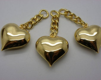 with its chain 20 mm x 20mm or 5 hearts brass charm