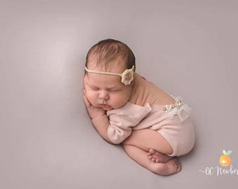Newborn Pale Pink Short Sleeve Romper, Onesie, Beaded, Sweater Knit, Photography Prop