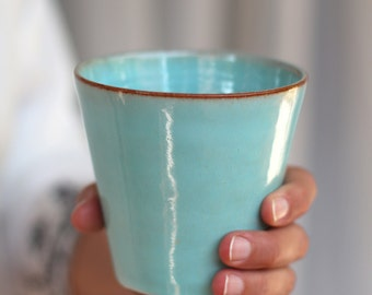 Turquoise Pottery mug, Large Coffee Mug, Rustic Pottery Mugs, Handmade ceramic cup, Pottery Gift, Housewarming Gift, Ceramic Tumbler