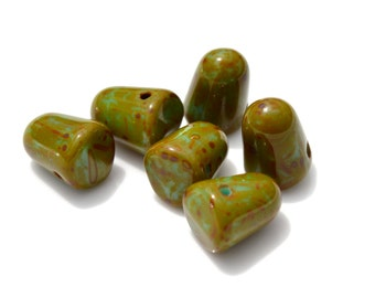 Green Turquoise Picasso Gumdrop Beads   6