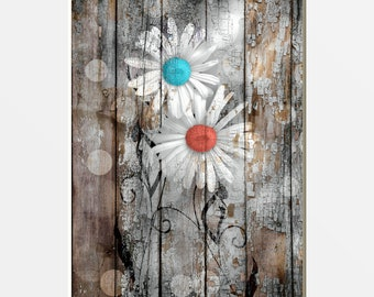Rustic Decor Daisy Flowers Rustic Farmhouse Decor Daisy Flowers Coral Blue Brown Wall Art Country Decor Modern Rustic Matted Pictures & Blue brown wall art | Etsy