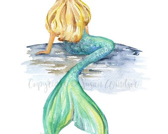 Mermaid Watercolor Painting - 11x14 - Giclee Print Reproduction - Mythical Sea Creature Ocean Wall Art