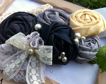 Navy and Pewter Rustic Wedding Sash -  Yellow, Grey and Navy Blue Romantic Doily Bridal Sash...