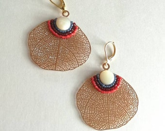 Earrings leaf filigree and miyuki