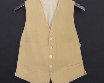 Size ~39 - 1950's vintage Edward Reed Ltd., Rockefeller Center yellow-tan linen vest