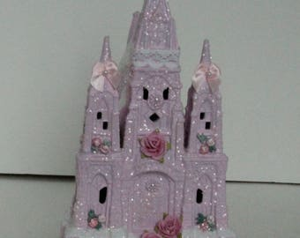 Upcycled Shabby chic pink Victorian Christmas village house with roses #5