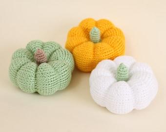 Crochet pumpkins,  crochet amigurumi,  crochet vegetable,  autumn decor, green, yellow and white pumpkins, halloween decor