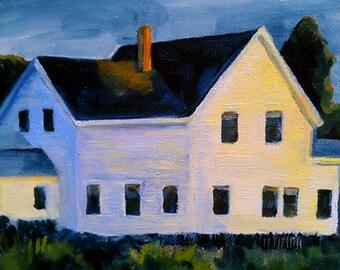 White Farmhouse art print of original oil painting of a farmhouse