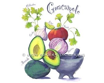 Guacamole Fine art print 8x10 Kitchen Art