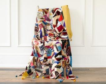 Antique Silk Velvet Chenille Hand Pieced / Hand Embroidered Crazy Quilt w/ Pom Pons