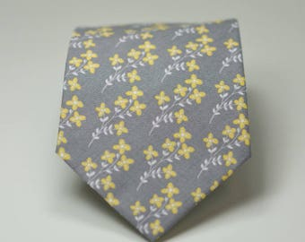 Gray and Yellow Floral Necktie for Boys
