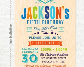 Boys birthday party invitations 3rd birthday printable photo boy 5th birthday party invitations printable digital invite boys fifth birthday invitation our little man moustache blue green orange red filmwisefo