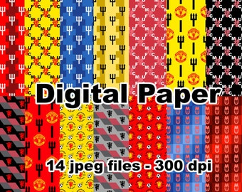 Manchester United - Digital Paper - 14 jpeg files 300 dpi - Soccer United Futbol Football