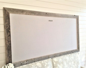 Huge Barnwood Frame MAGNETIC Bulletin Board Reclaimed Recycled Weathered Gray Rustic Barn 34x64 Handmade Frame Gray Linen Fabric