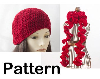 Hat and Ruffle Scarf Crochet Pattern, Instant Download, Two PDF Patterns,  Hat Pattern
