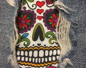 "Set of 2 Day of the Dead 4"" x 4"" assorted ""Peek a Boo""  Jean Patches Super Strong Iron On- Denim by Hol(e)y Patches"