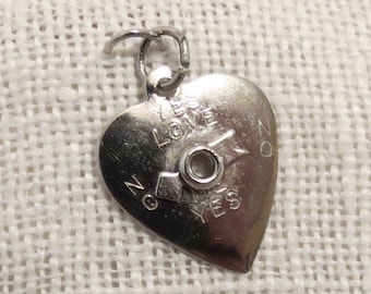 Love Spinning Wheel Arrow ~ Yes No Heart Sterling Silver Charm