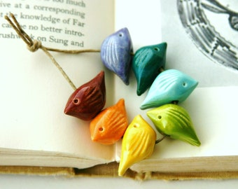 Handmade Birds Bead Set - Sampler Collection - Bright Rainbow Rustic Red Orange Yellow Green Blue - Made to Order