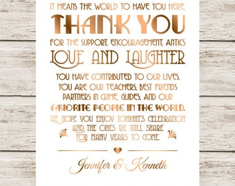 Wedding Thank You Sign DIY, Printable Thank You Sign For Wedding, Gold Wedding Decor, To Our Family and Friends.., Thank You Wedding Sign