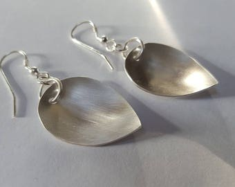 Brushed Silver Earrings, Silver Petal Earrings, Silver drop earrings